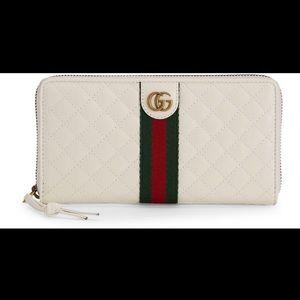 Gucci Trapuntata Zip-around Wallet with Web Detail